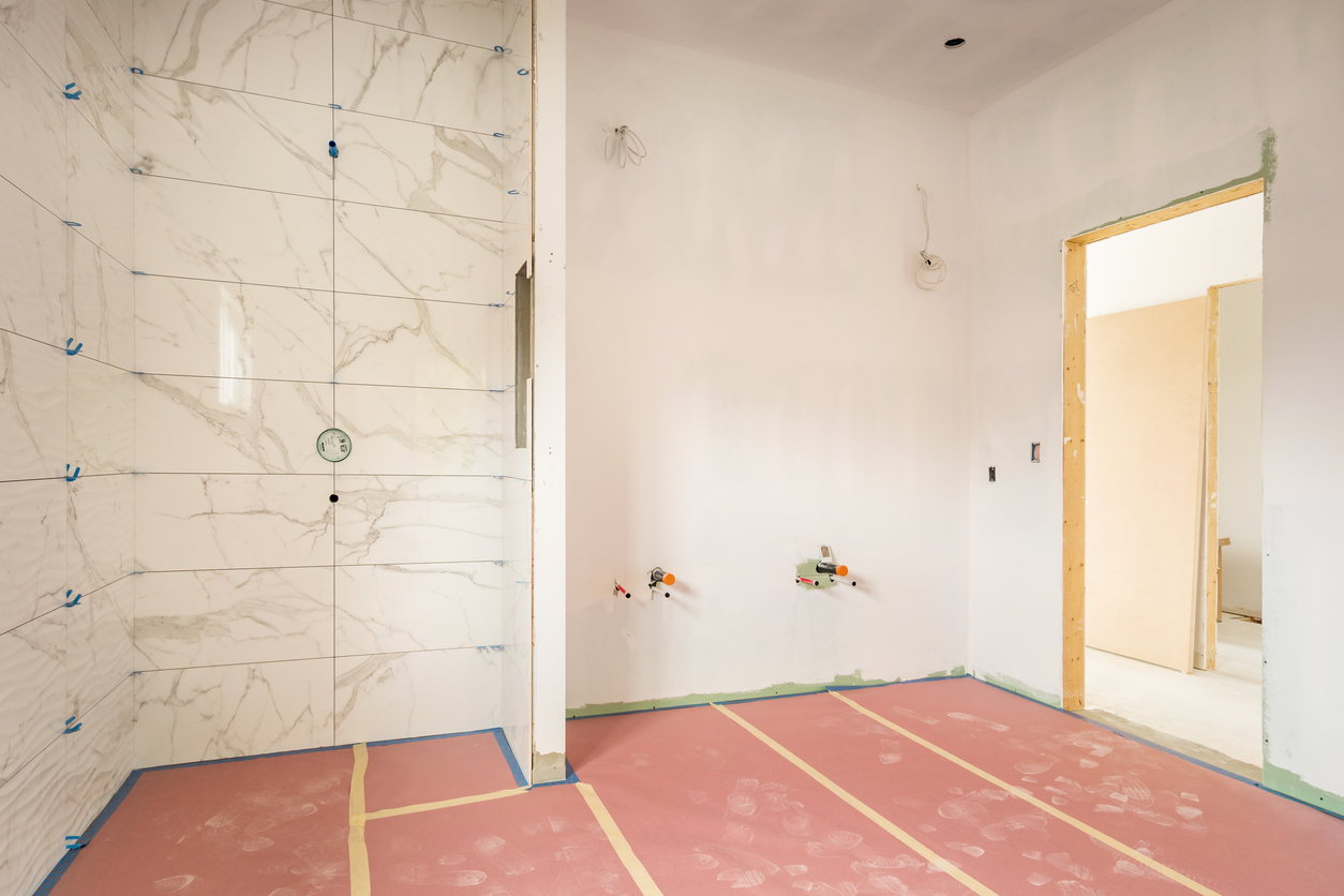 Bathroom construction in a large home